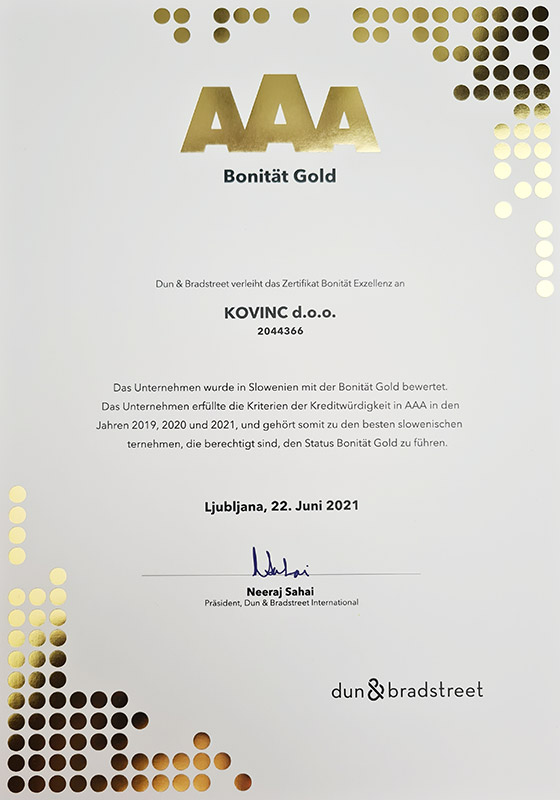 Bonität Gold - Kovinc d.o.o. (2021)